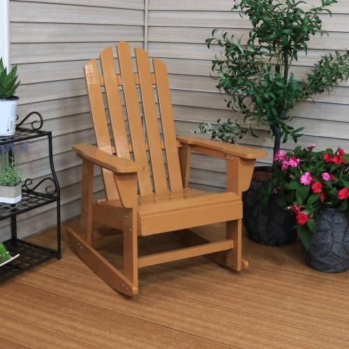 Sunnydaze Adirondack Rocking Chair Classic Wood Outdoor Furniture - Cedar Finish Perspective: top