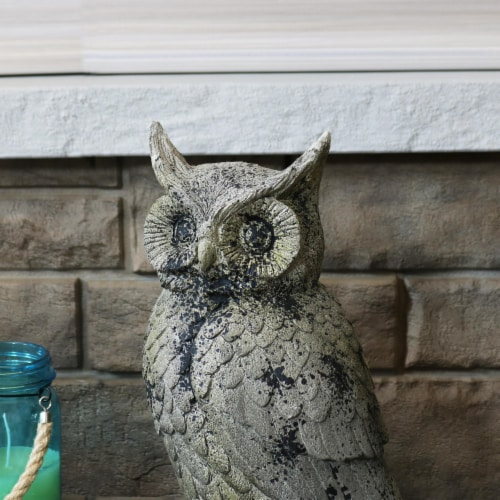 """Sunnydaze Outdoor Garden Statue Great Horned Owl Patio and Lawn Decor - 14"""" Perspective: top"""