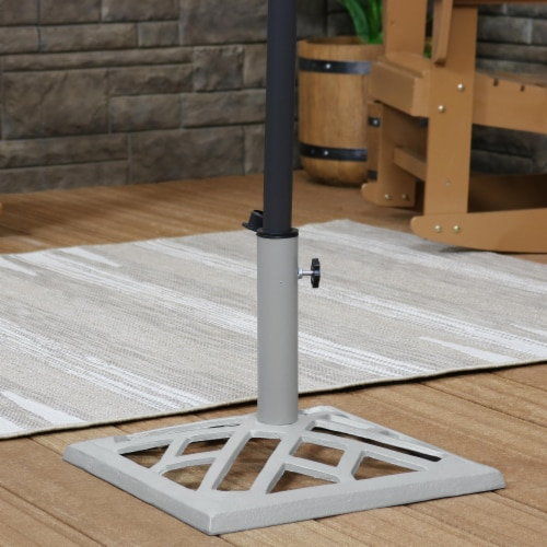 "Sunnydaze Cast Iron Gray Geometric Patio Umbrella Base/Stand - 17"" Square Perspective: top"