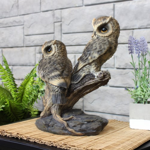 Sunnydaze Watchful Owls Outdoor Garden Statue - 13-Inch Perspective: top