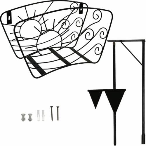 Sunnydaze Metal Garden Hose Stand - Windblown Sunrise Wire Design - 43-Inch Perspective: top