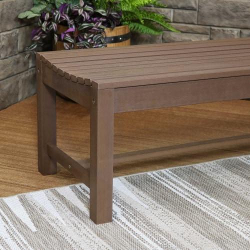 Sunnydaze Shandon Outdoor Backless Garden Bench - 50-Inch - Brown Perspective: top