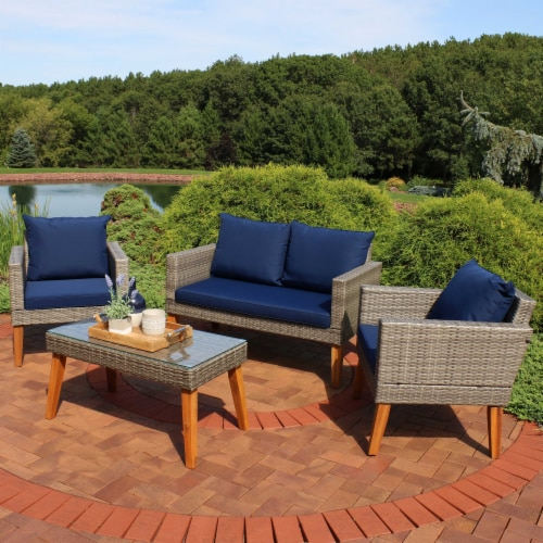 Sunnydaze Clifdon 4-Piece Patio Furniture Set - Rattan and Acacia with Cushions Perspective: top
