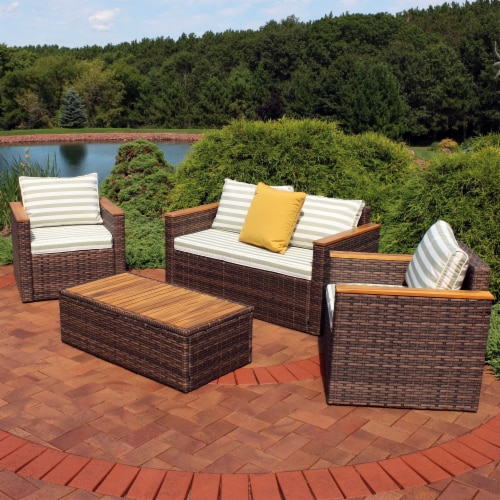 Sunnydaze Kenmare 4-Piece Patio Furniture Set - Rattan and Acacia with Cushions Perspective: top