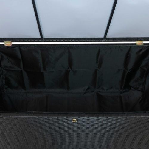 Sunnydaze Outdoor Storage Deck Box with Acacia Handles - Black Resin Rattan Perspective: top