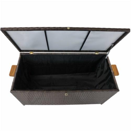 Sunnydaze Outdoor Storage Deck Box with Acacia Handles - Brown Resin Rattan Perspective: top