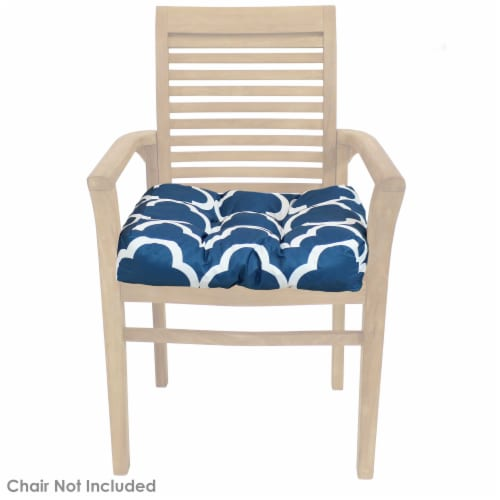 Sunnydaze Set of 2 Tufted Outdoor Seat Cushions - Navy Blue and White Quatrefoil Perspective: top