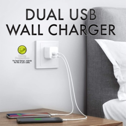 Ihip Dual Usb 2.4amp Wall Block Charger Perspective: top