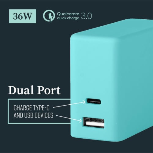 Mochic Wall Charger Dual Port Usb A & Type C 36w Perspective: top