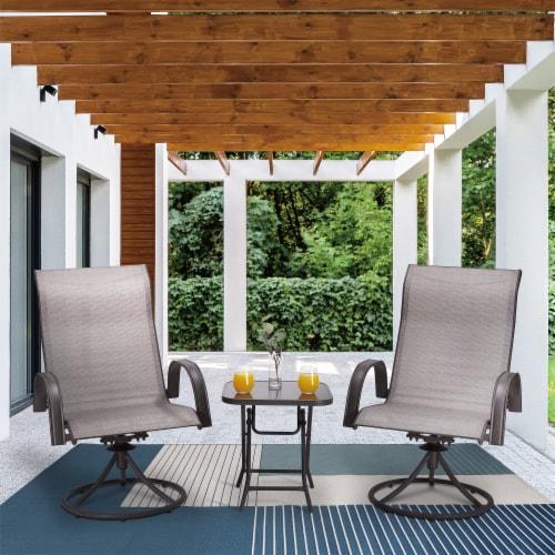 Peaktop Patio Furniture Set Garden Table & 2 Chairs Gray Bistro Set PT-OF0003 Perspective: top