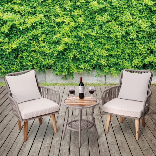 Peaktop Patio Furniture Set Table & 2 Chairs Wicker Bistro Set Brown PT-OF0008 Perspective: top