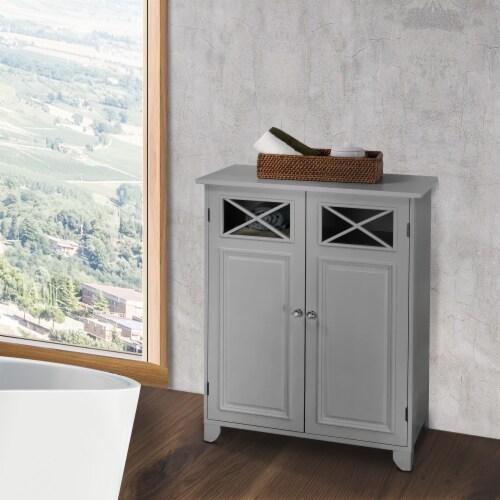 Elegant Home Fashions Wooden Bathroom Cabinet Standing Grey Dawson EHF-6841G Perspective: top