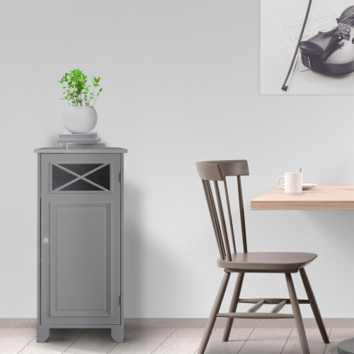 Elegant Home Fashions Bathroom Floor Cabinet With One Door Grey Dawson EHF-6834G Perspective: top