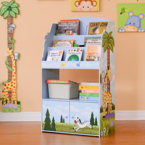 Fantasy Fields Kids Wooden Bookcase 3 Tier & Drawer Sunny Safari TD-13394SS Perspective: top