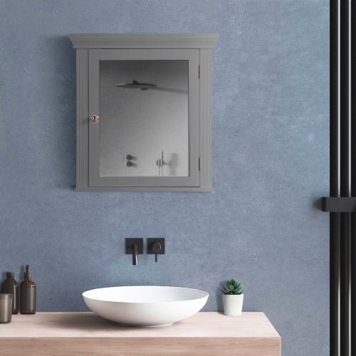 Elegant Home Fashions Wooden Bathroom Medicine Cabinet Mirror Grey EHF-6544G Perspective: top