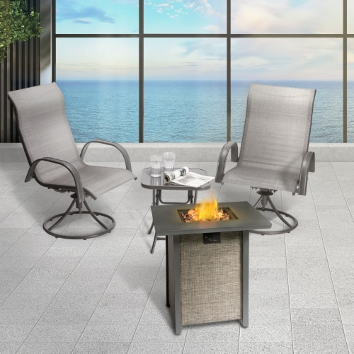 Peaktop Firepit Outdoor Gas Fire Pit Metal Fabric, Lava Rock, Cover HF28201AA Perspective: top