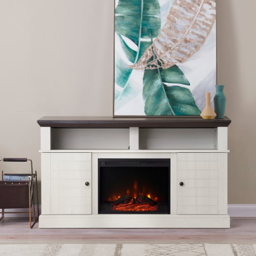 """Versanora 60"""" Fireplace TV Stand Unit & Remote 23"""" Insert White Eliana VNF-00100 Perspective: top"""