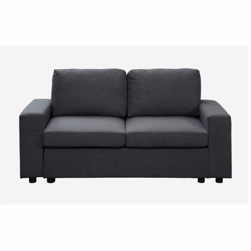 Lilola Home Brenton Loveseat Couch in Color Dark Gray Linen Fabric Perspective: top