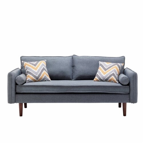 Lana Mid-Century Modern Gray Fabric Sofa Couch with USB Charging Ports Perspective: top