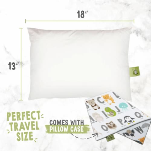 Hypoallergenic Toddler Pillow with 100% Cotton Pillowcase (KeaABC) Perspective: top