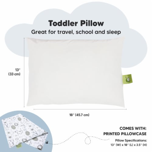 Hypoallergenic Toddler Pillow with 100% Cotton Pillowcase (KeaSafari) Perspective: top