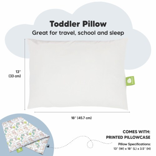Hypoallergenic Toddler Pillow with 100% Cotton Pillowcase (Unicorn Dreams) Perspective: top