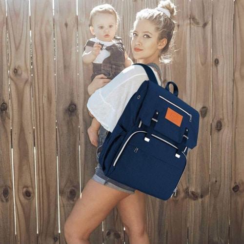 Explorer Diaper Backpack (Navy Blue) Perspective: top