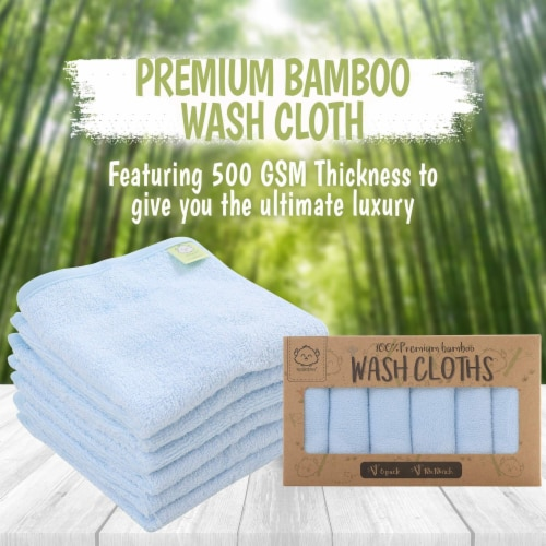Deluxe Baby Bamboo Washcloths (Bravo Blue) Perspective: top