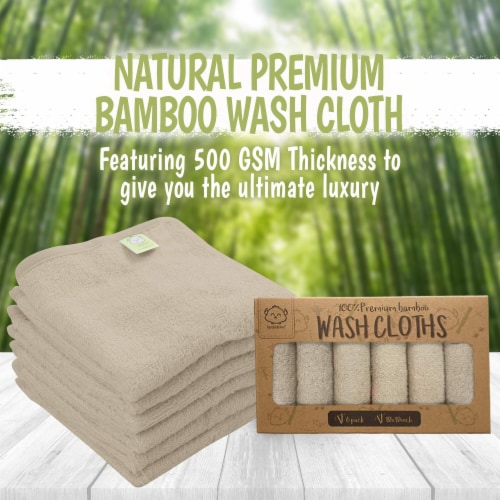 Deluxe Baby Bamboo Washcloths (Earth Brown) Perspective: top