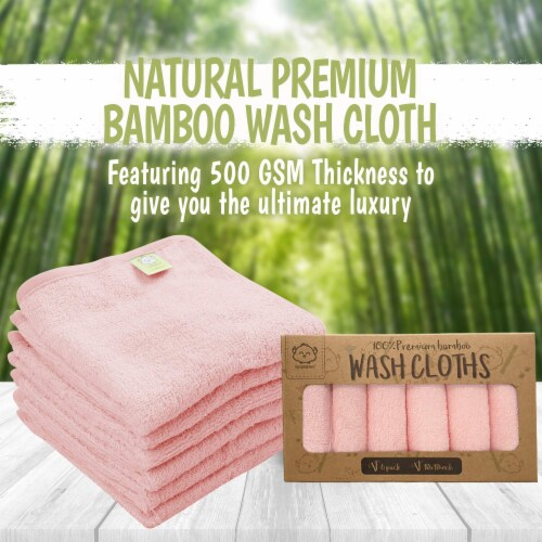Deluxe Baby Bamboo Washcloths (Blush Pink) Perspective: top