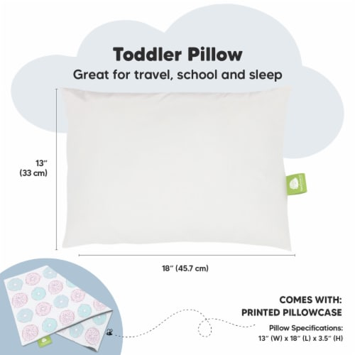 Hypoallergenic Toddler Pillow with 100% Cotton Pillowcase (Donuts) Perspective: top