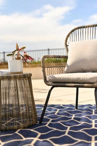 3pcs Patio Set Seating Cushion w/ Table Bistro Set Outdoor Wicker, Grey Perspective: top
