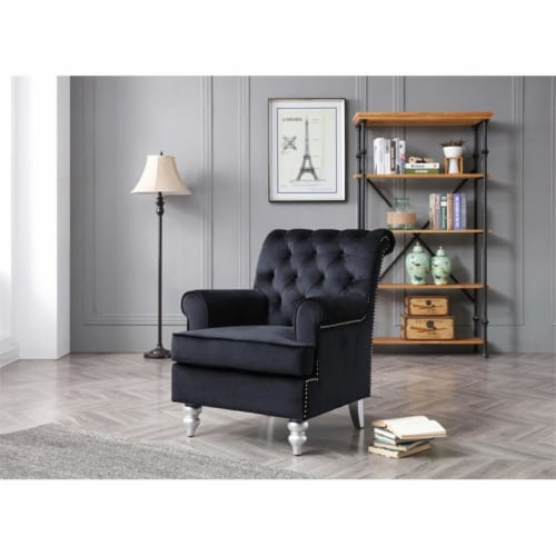 Glory Furniture Anna Velvet Accent Arm Chair in Black Perspective: top
