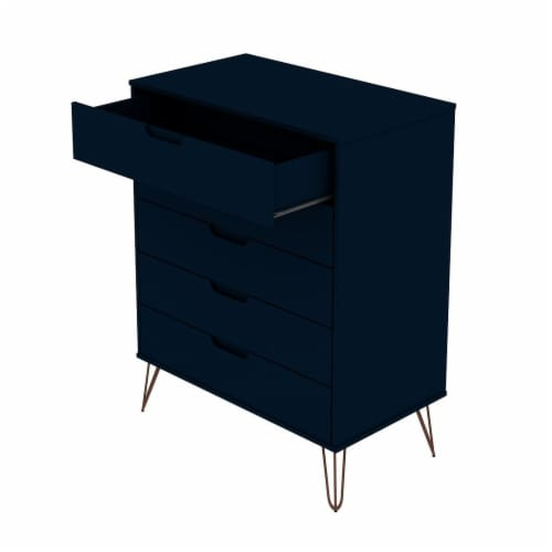 Manhattan Comfort Rockefeller 5-Drawer Tall Dresser with Metal Legs in Tatiana Midnight Blue Perspective: top