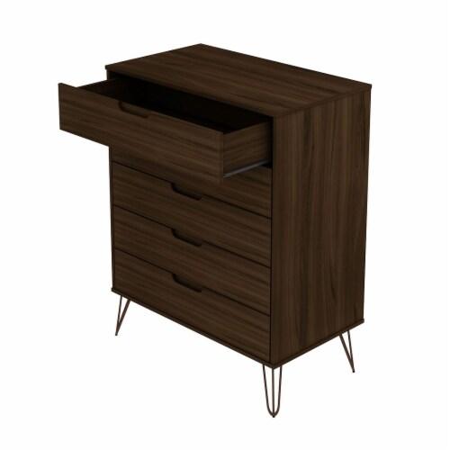 Manhattan Comfort Rockefeller 5-Drawer Tall Dresser with Metal Legs in Brown Perspective: top