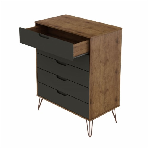 Rockefeller 5-Drawer Tall Dresser with Metal Legs in Nature and Textured Grey Perspective: top