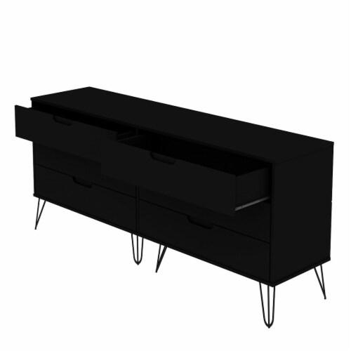 Manhattan Comfort Rockefeller 6-Drawer Double Low Dresser with Metal Legs in Black Perspective: top
