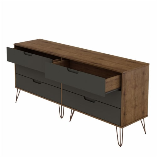 Rockefeller 6-Drawer Double Low Dresser with Metal Legs in Nature and Textured Grey Perspective: top