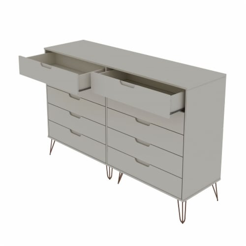 Rockefeller 10-Drawer Double Tall Dresser with Metal Legs in Off White and Nature Perspective: top