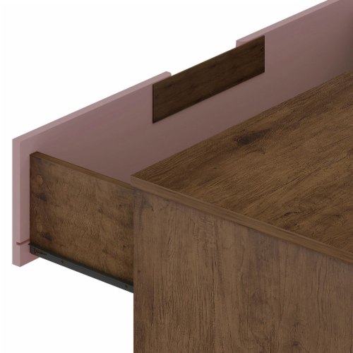 Rockefeller 10-Drawer Double Tall Dresser with Metal Legs in Nature and Rose  Pink Perspective: top