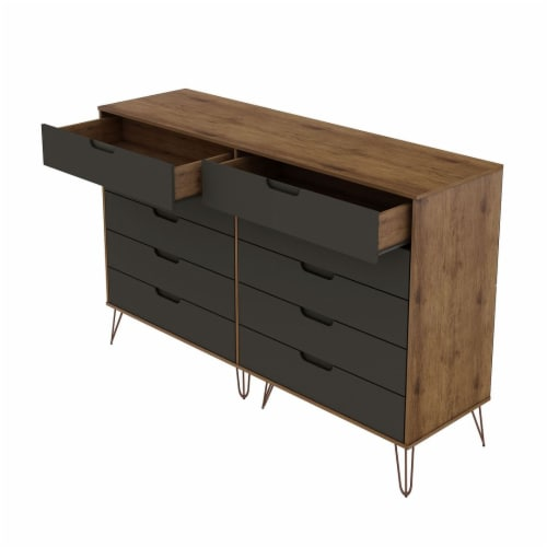 Rockefeller 10-Drawer Double Tall Dresser with Metal Legs in Nature and Textured Grey Perspective: top