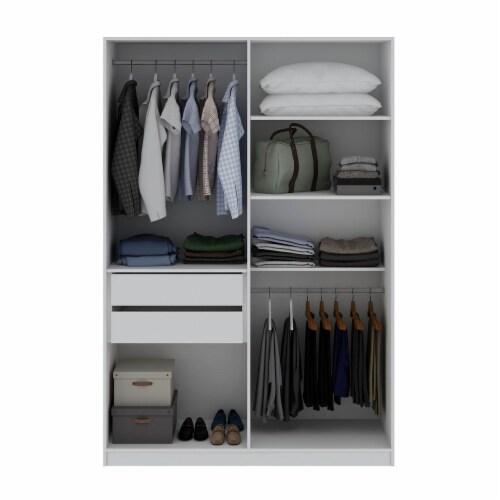 Manhattan Comfort Gramercy Modern 2-Section Freestanding Wardrobe Armoire Closet in White Perspective: top