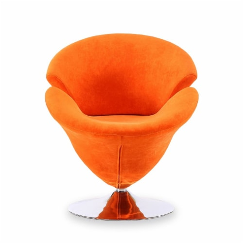 Manhattan Comfort Tulip Orange and Polished Chrome Velvet Swivel Accent Chair Perspective: top