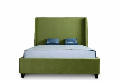Manhattan Comfort Parlay Pine Green Full Bed Perspective: top