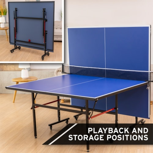 HEAD 1-1-33012-DS 12 Millimeter Surface Match Point Ping Pong Table with Net Perspective: top