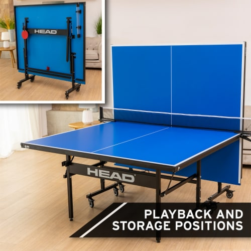 HEAD 15mm Surface Grand Slam Indoor Ping Pong Table Tennis with Net and Post Set Perspective: top