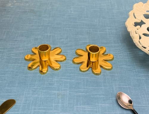 Vibhsa Taper Candlestick Holder Flower Dish Set 2 Pack - Gold Perspective: top