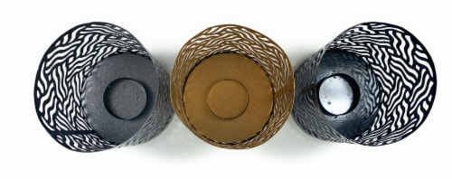 Vibhsa Votive Candle Holders 6 Pack - Gray/Gold/Black Perspective: top