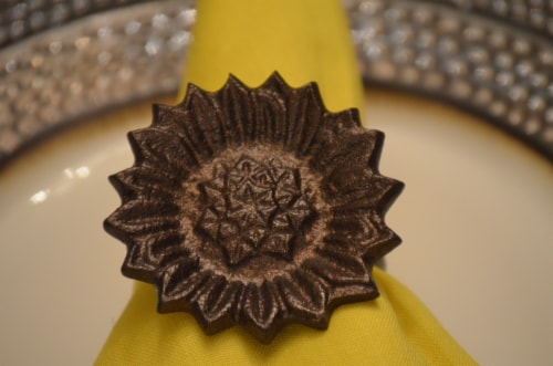 Vibhsa Antique Sunflower Napkin Rings Set Perspective: top
