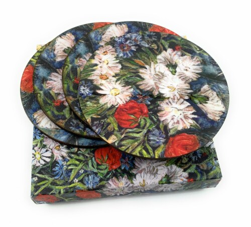 Vibhsa Designer Flower Delight Tea Coasters Perspective: top